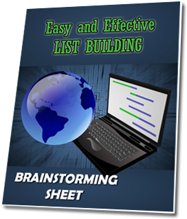 List Building Brainstorming Sheet Ecover