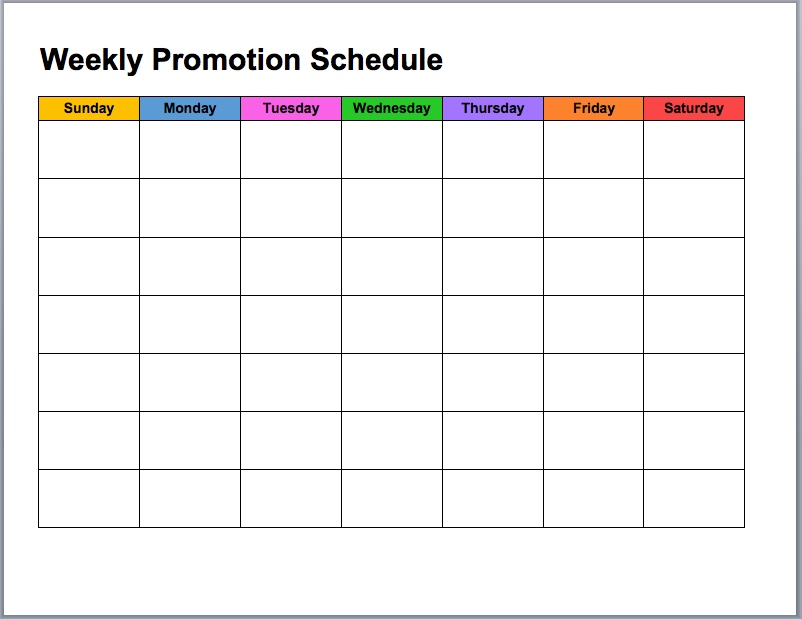 Weekly Promotion Calendar