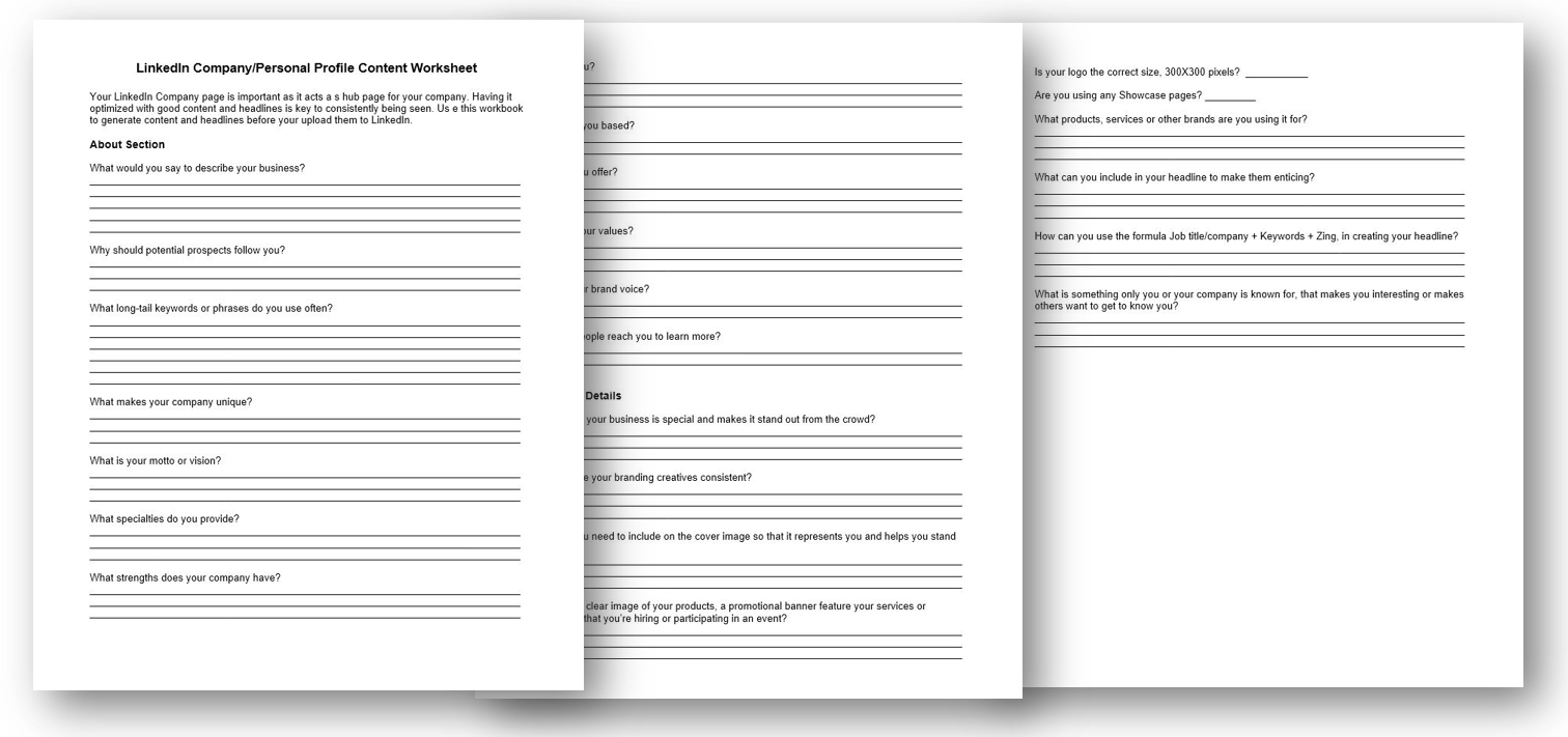 LinkedIn Company/Personal Profile Content Worksheet
