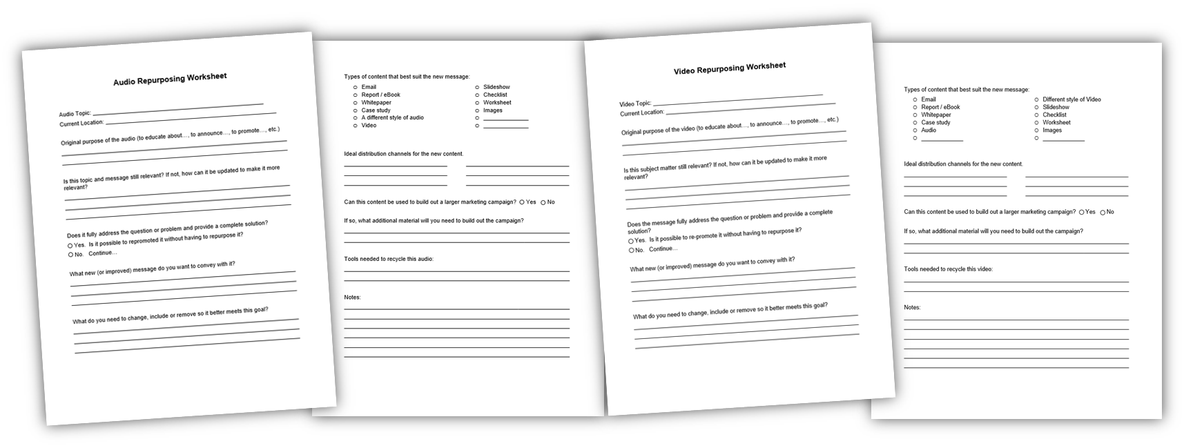 repurposing content worksheet