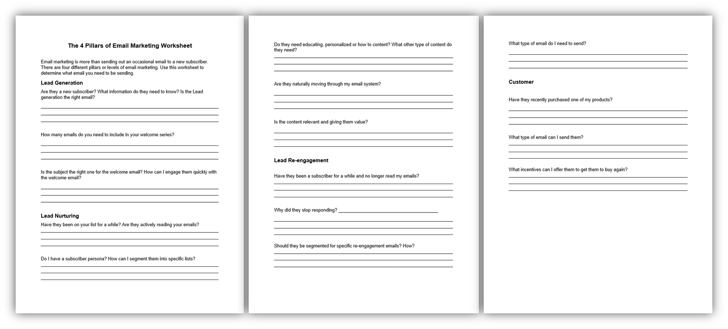 4 Pillars of Email Marketing Worksheet